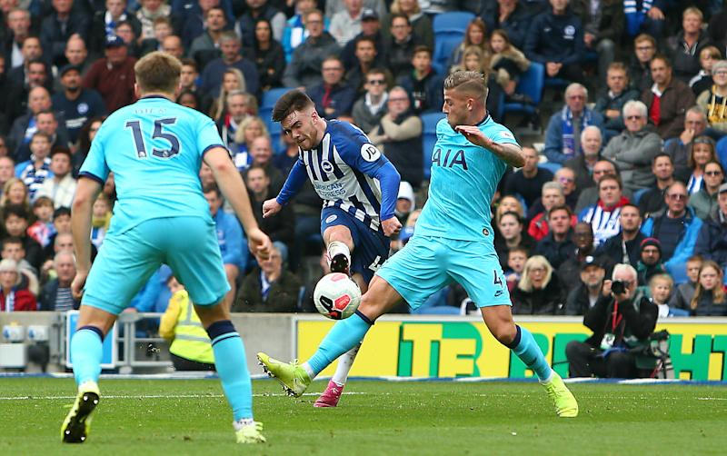 Connolly scores Brighton's third goal. (Photo by Charlie Crowhurst/Getty Images)