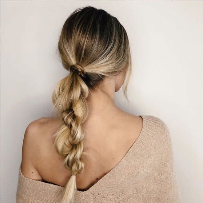 <p>Brush your hair into a low pony for an effortless and elegant look.</p>