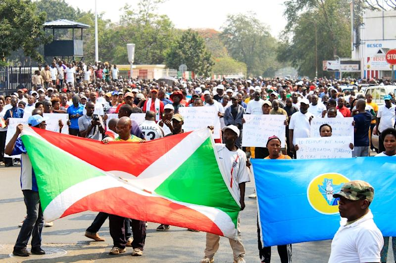 Around 1,000 people march in Bujumbura on July 30, 2016, in protest against a UN Security Council decision to send a police contingent to the violence-wracked country (AFP Photo/)