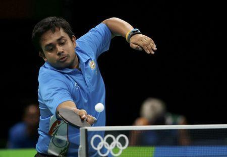 FILE PHOTO: 2016 Rio Olympics - Table Tennis - Men's Singles First Round - Riocentro - Pavilion 3 - Rio de Janeiro, Brazil - 06/08/2016. Soumyajit Ghosh (IND) of India plays against Padasak Tanviriyavechakul (THA) of Thailand. REUTERS/Alkis Konstantinidis