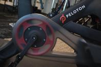 FILE - In this Sept. 26, 2019 file photo, the Peloton logo is displayed on the company's stationary bicycle in New York. In 2020, many people took to working remotely in sweatpants, hopped onto an expensive high-tech exercise bike and had their favorite restaurant dish delivered, perhaps by a driver trying to earn an extra buck and hoping not to catch the coronavirus. (AP Photo/Mark Lennihan, File)