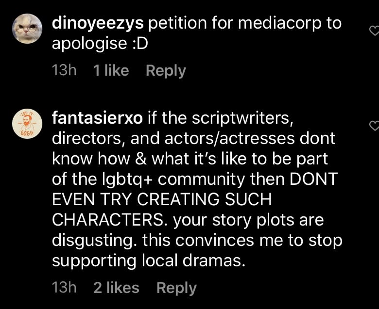 Comments on Mediacorp's Instagram page criticising the broadcaster for scenes perpetuating false negative stereotypes of gay men.