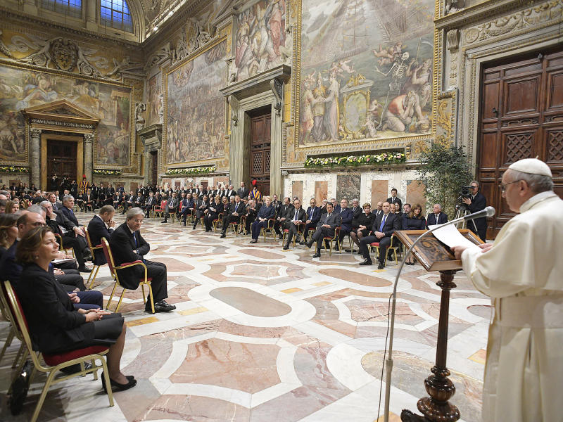 Pope Francis during an audience with 27 heads of State or government at the Vatican: Getty Images