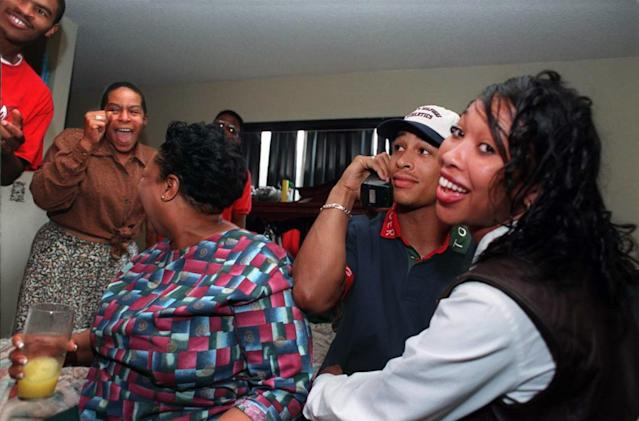 Rae Carruth was on top of the world in 1997, when the Carolina Panthers took him with the 27th overall pick. In three seasons, Carruth caught 62 passes and four touchdowns. (Getty)