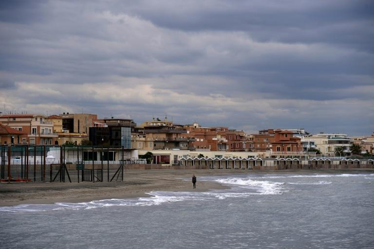 Ostia Lido in Ostia, on the outskirts of Rome,under gloomy skies on Friday