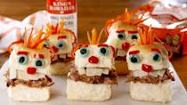 """<p>The most fun way to use pulled pork this Halloween.</p><p>Get the recipe from <a href=""""https://www.delish.com/cooking/recipe-ideas/a22827160/pulled-pork-menehune-sliders-recipe/"""" rel=""""nofollow noopener"""" target=""""_blank"""" data-ylk=""""slk:Delish"""" class=""""link rapid-noclick-resp"""">Delish</a>.</p>"""