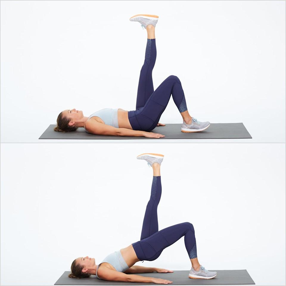 <ul> <li>Lie on your back, then place your hands on the floor for stability. Bend one leg and lift the other leg toward the ceiling.</li> <li>Pressing your heel into the floor, lift your pelvis up and squeeze your glutes, keeping your body in a stiff bridge position with your other leg up.</li> <li>Slowly lower your body to the floor.</li> <li>Complete four sets of 12 reps on each leg.</li> </ul>