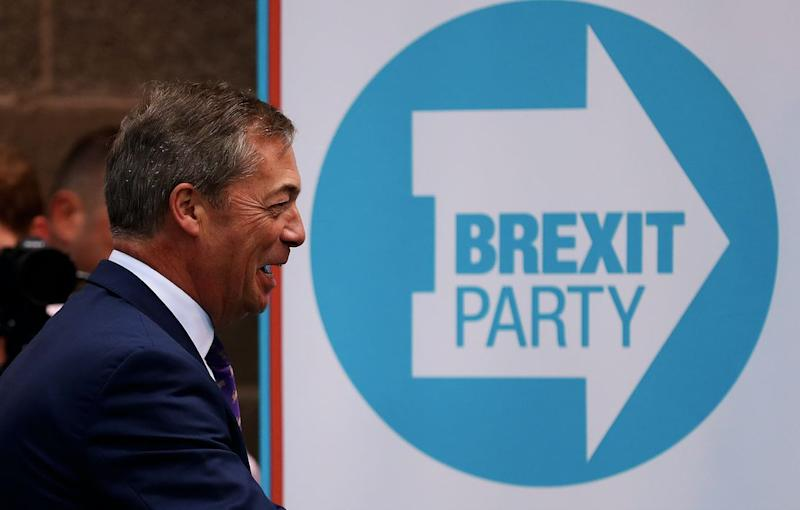 Nigel Farage's Brexit Party has come out on top of a new voting intention poll for the EU elections (Getty)