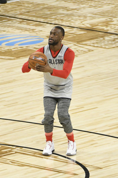 Kemba Walker, of the Boston Celtics, warms up during practice at the NBA All-Star basketball game, Saturday, Feb. 15, 2020, in Chicago. (AP Photo/David Banks)