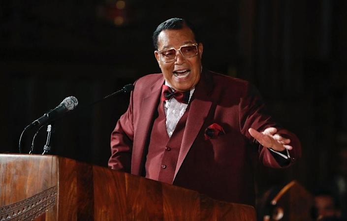 Nation of Islam leader Louis Farrakhan speaks about his ousting from Facebook at St. Sabina Catholic Church in Chicago, Illinois on May 9, 2019 (AFP Photo/KAMIL KRZACZYNSKI)