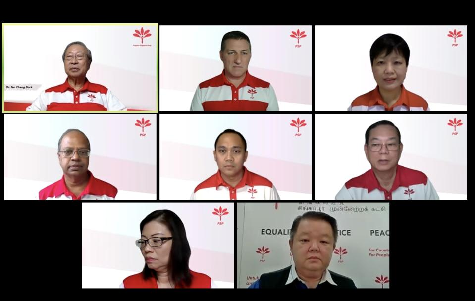 Progress Singapore Party announcing six candidates for the general election in a virtual conference. From left: Dr Tan Cheng Bock, Bradley Bowyer, Gigene Wong, Sri Nallakaruppan, Muhammad Taufik Suppan, Francis Yuen, Hazel Poa and host Craig Teo. (PHOTO: Screenshot/Yahoo News Singapore)