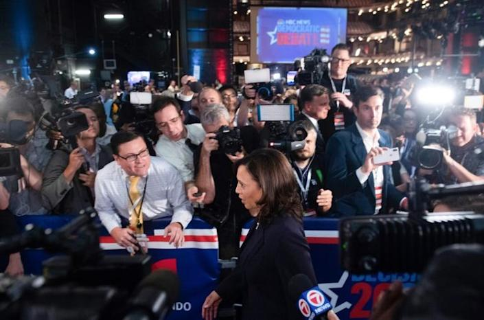 Senator Kamala Harris speaks to the press after participating in the first round of the Democratic primary debate of the 2020 presidential campaign season (AFP Photo/SAUL LOEB)
