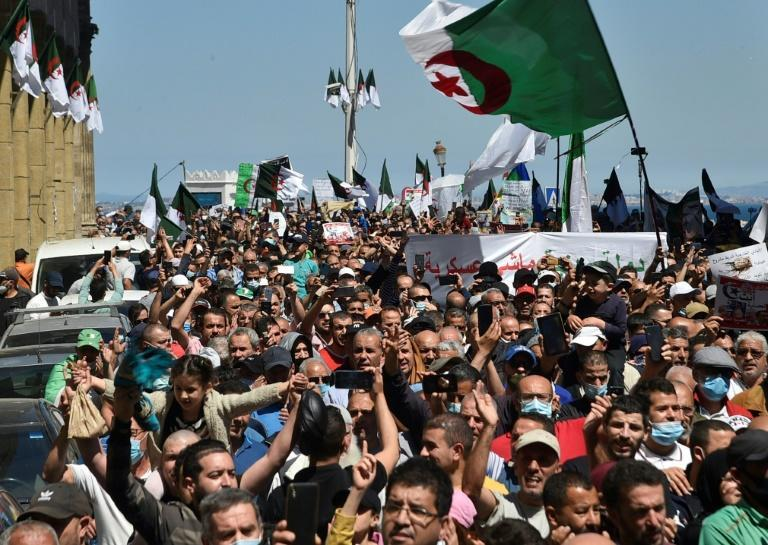 Security forces have deployed in strength to prevent reform movement protests like this one in Algiers on May 7