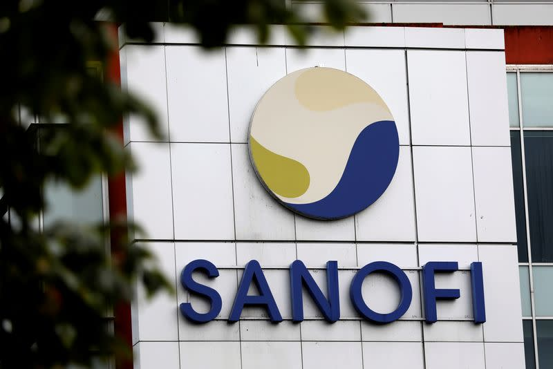The logo of Sanofi is seen at the company's research and production centre in Vitry-sur-Seine,