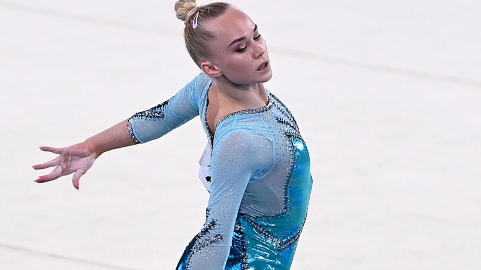 Angelina Melnikova, pictured here in the women's floor final at the Tokyo Olympics.