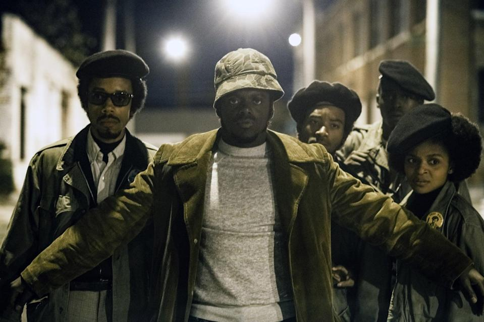 JUDAS AND THE BLACK MESSIAH, Darrell Britt-Gibson (left), Daniel Kaluuya (front), as Fred Hampton, Ashton Sanders (back right), as Jimmy Palmer, Dominique Thorne (right), 2021.  ph: Glen Wilson / Warner Bros. / Courtesy Everett Collection