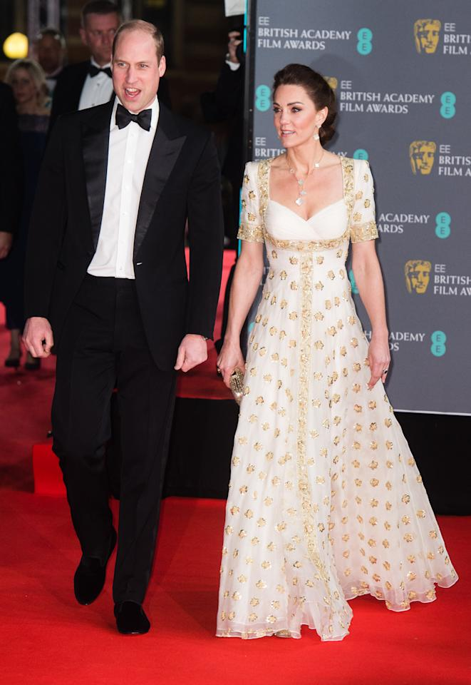 LONDON, ENGLAND - FEBRUARY 02: Catherine, Duchess of Cambridge  and Prince William, Duke of Cambridge attend the EE British Academy Film Awards 2020 at Royal Albert Hall on February 02, 2020 in London, England. (Photo by Samir Hussein/WireImage)