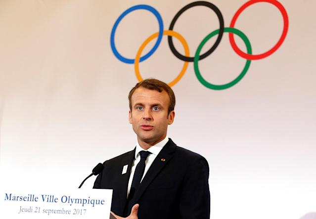 French President Emmanuel Macron attends a press conference during his visit at the future site of the sailing for the 2024 Summer Olympic Games in Marseille, France, September 21, 2017. REUTERS/Sebastien Nogier/Pool