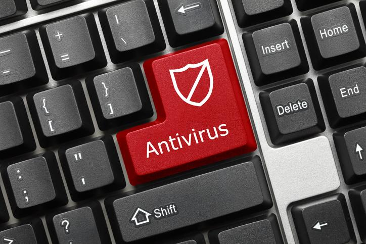 <p>Close-up view on conceptual keyboard – Antivirus (red key with shield symbol) </p>