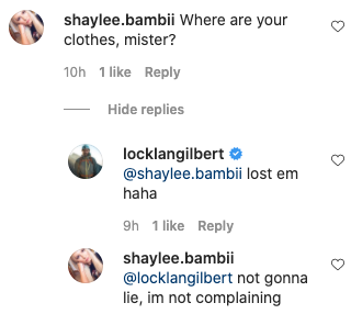 The former Survivor star's fans got flirty in the comments. Photo: Instagram/locklangilbert.