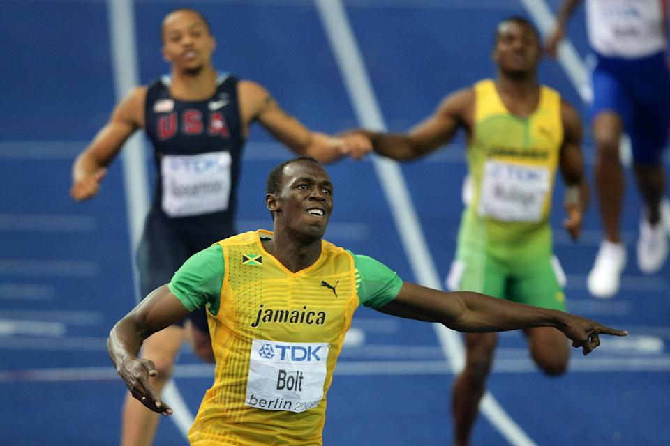 Bolt stormed out of the blocks in the 2009 final and the result was already a formality by the bend. (Getty)