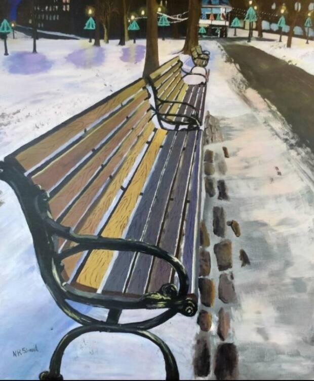 Simard's painting Winter Stroll was one of two pieces chosen to be displayed in the 2021 Open International Online Juried Exhibition.