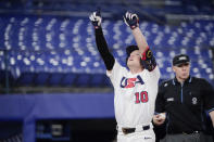 United States' Nick Allen reacts after hitting a home run in the fifth inning of a baseball game against South Korea at the 2020 Summer Olympics, Saturday, July 31, 2021, in Yokohama, Japan. (AP Photo/Sue Ogrocki)