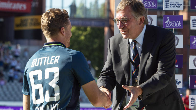 David Hodgkiss, pictured here congratulating Jos Buttler after England's win over Australia in an ODI in 2018.