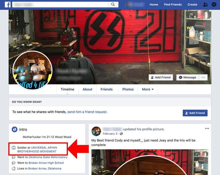 A screenshot by the Tech Transparency Project shows how Facebook auto-generates pages for white supremacist groups. (Photo: Tech Transparency Project)