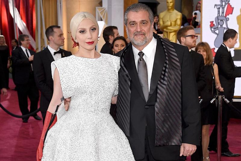 Joe Germanotta and his daughter Lady Gaga at the Academy Awards on 22 February 2015: Kevork Djansezian/Getty Images