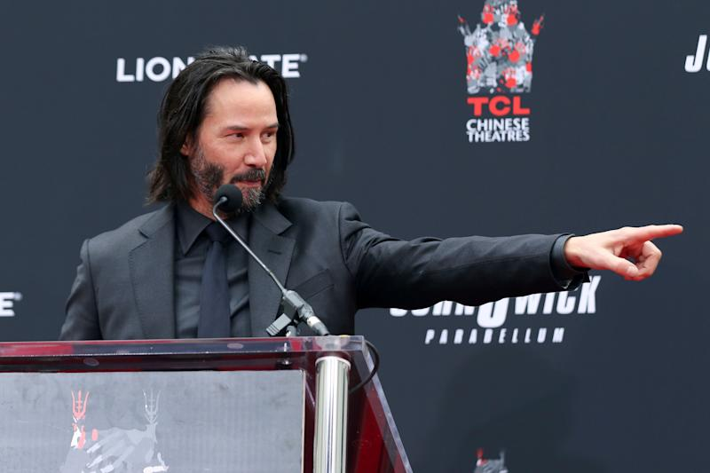 Keanu Reeves speaks during a hand and footprint ceremony honoring him at the TCL Chinese Theatre on Tuesday, May 14, 2019 at in Los Angeles. (Photo by Willy Sanjuan/Invision/AP)