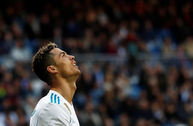 Soccer Football - La Liga Santander - Real Madrid vs Deportivo Alaves - Santiago Bernabeu, Madrid, Spain - February 24, 2018 Real Madrid's Cristiano Ronaldo reacts REUTERS/Juan Medina