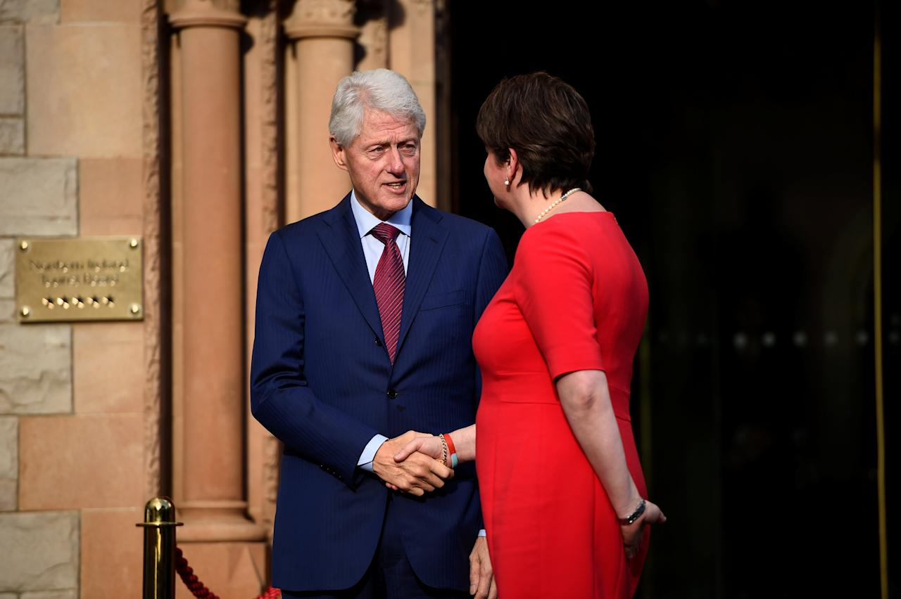 Former U.S. President, Bill Clinton and leader of the DUP Arlene Foster depart the Culloden Hotel in Belfast, Northern Ireland October 17, 2017. REUTERS/Clodagh Kilcoyne