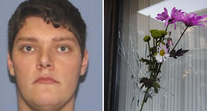 Pictured is Ohio gunman Connor Betts, 24, and flowers sit in a bullet hole where he opened fire. He killed nine people.
