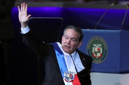 Panama's new President Laurentino Cortizo gestures after addressing the audience during his inauguration ceremony, in Panama City