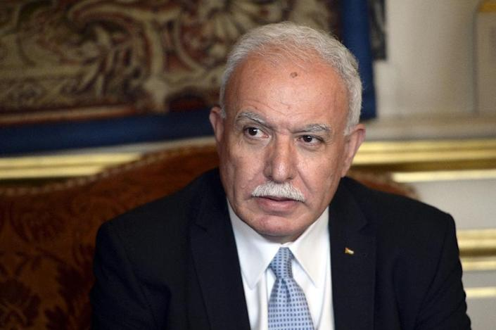 """""""The US president assured him he will be able to find a settlement within one year,"""" Palestinian Foreign Affairs minister Riyad Al-Malki, seen in 2015, said of Trump's meeting with Palestinian president Mahmud Abbas in early May (AFP Photo/MIGUEL MEDINA)"""