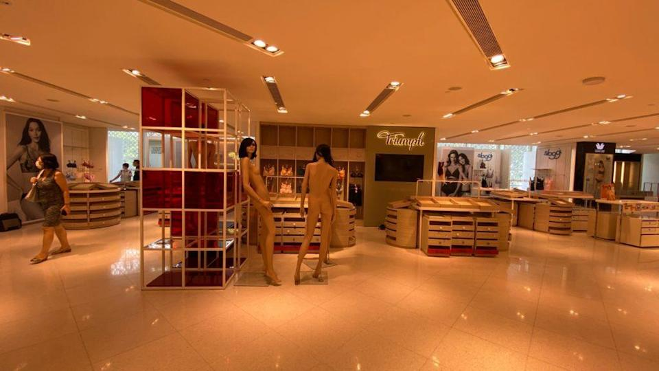 The wiped out lingerie section and unclothed mannequins at the Raffles City outlet. Photo: Coconuts