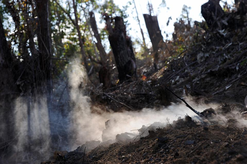 Smoke rises from burning charcoal oven in a patch of secondary forest that was cut down by men near Andasibe in south west Madagascar on September 18, 2008. For centuries forests in Madagascar have been logged in what is known as Tavy, traditional slash-and-burn agriculture. Experts say that 90% of the native tree cover in this island nation has already been lost and say this loss of habitat is the primary driver of exctinction on Madagascar. The vast majority of Madagascar's 2,300 species are found nowhere else on Earth. Madagascar's native plants and animals evolved in isolation for some 80 million years; as a result, the 587,000-sq-km country, which sits just off the coast of southeastern Africa, has perhaps the highest level of biodiversity per capita in the world. Experts agree that rampant deforestation, a swelling human population and the early effects of climate change have already pushed countless species out of existence.     AFP PHOTO/Roberto SCHMIDT (Photo credit should read ROBERTO SCHMIDT/AFP via Getty Images)