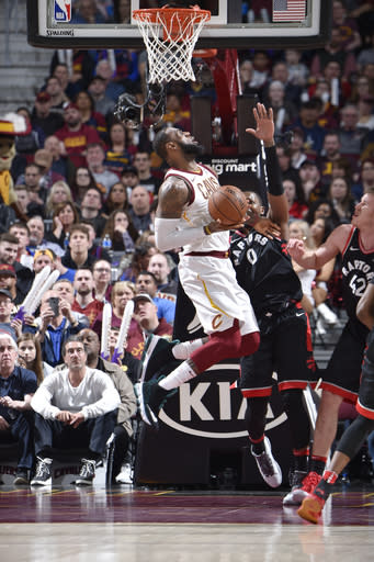 CLEVELAND, OH - APRIL 3: LeBron James #23 of the Cleveland Cavaliers drives to the basket during the game against the Toronto Raptors on April 3, 2018 at Quicken Loans Arena in Cleveland, Ohio. (Photo by David Liam Kyle/NBAE via Getty Images)