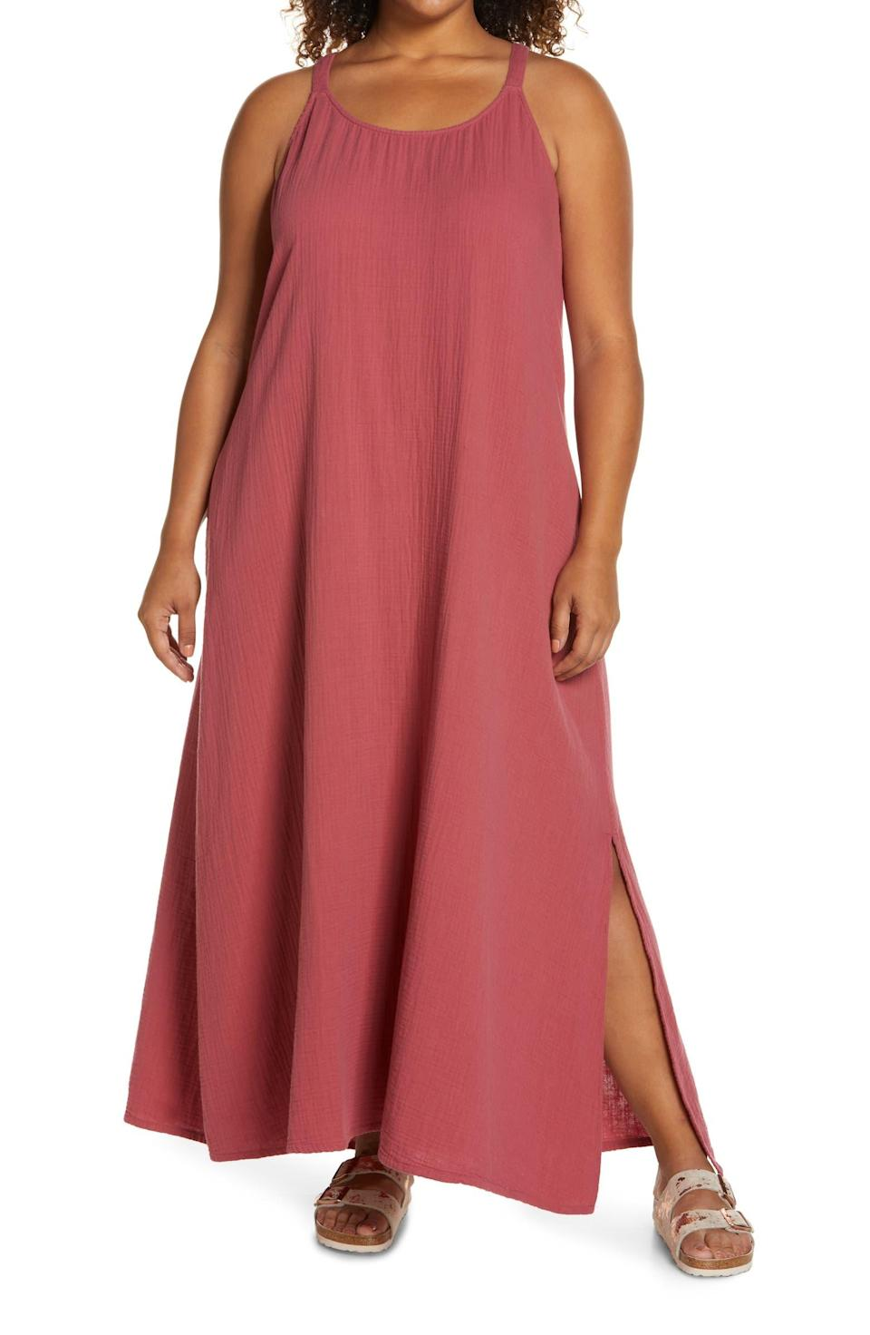 """<br><br><strong>Caslon</strong> Textured Cotton Sleeveless Maxi Dress, $, available at <a href=""""https://go.skimresources.com/?id=30283X879131&url=https%3A%2F%2Fwww.nordstrom.com%2Fs%2Fcaslon-textured-cotton-sleeveless-maxi-dress-plus-size%2F5833247%3Forigin%3Dkeywordsearch-personalizedsort%26breadcrumb%3DHome%252FAll%2520Results%26color%3D600"""" rel=""""nofollow noopener"""" target=""""_blank"""" data-ylk=""""slk:Nordstrom"""" class=""""link rapid-noclick-resp"""">Nordstrom</a>"""