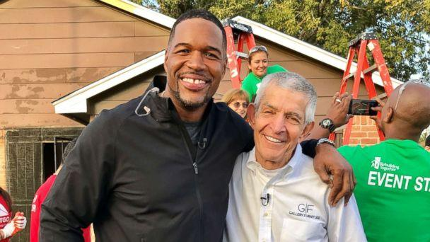 PHOTO: ABC News' Michael Strahan meets with 'Mattress Mack' Jim McIngvale, the Houston hero who opened the doors of his furniture store to anyone seeking shelter during Hurricane Harvey.  (ABC News)