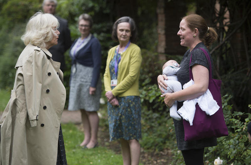 The Duchess of Cornwall during a visit to Swindon Borough Council Office Gardens where she met with members of the council and representatives from the Live Well Hub, who have worked on and benefited from the council's services during the pandemic.