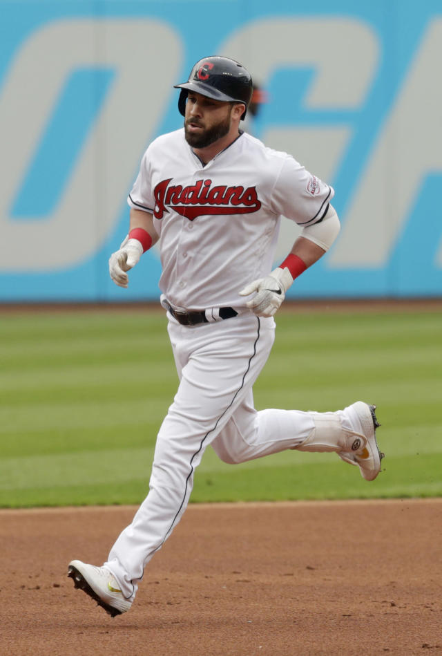 Cleveland Indians' Jason Kipnis runs the bases after hitting a solo home run off Baltimore Orioles starting pitcher Dan Straily in the first inning of a baseball game, Thursday, May 16, 2019, in Cleveland. (AP Photo/Tony Dejak)