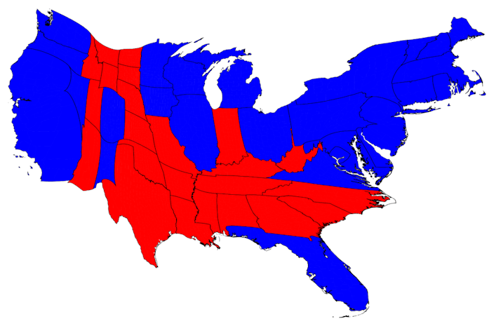 The image has been adjusted with a cartogram, which substitutes another variable for geography. In this case, the states are resized based on their population. Now the country appears mostly blue.