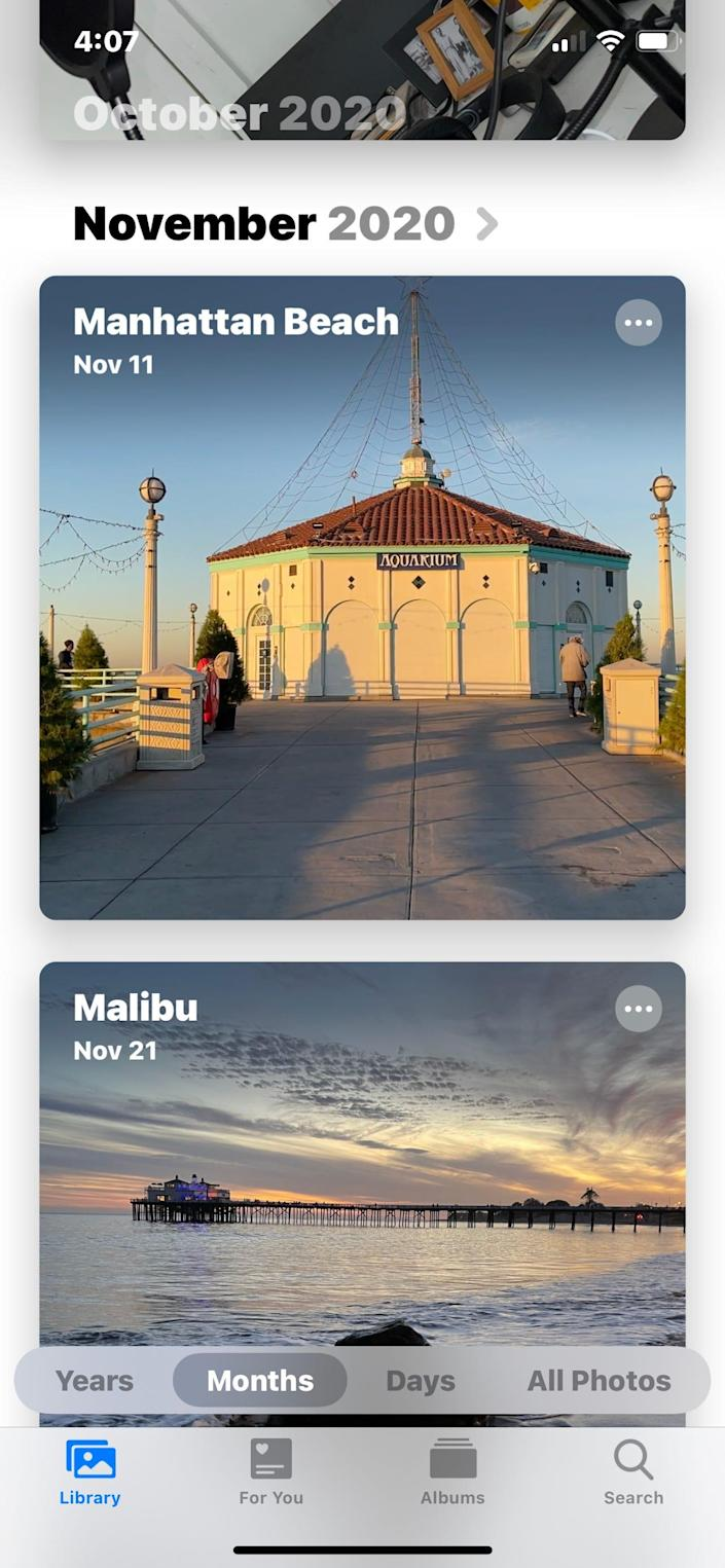 Apple's Photos app organizes by years, months and days