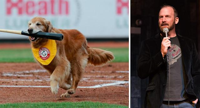 Derby, the Trenton Thunder bat dog, died from cancer and ex-MLB pitcher Ryan Dempster made a bad joke about it. (MLB.com/Getty Images)
