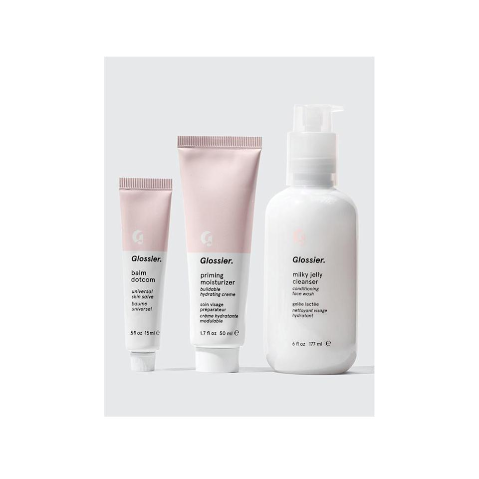 "It doesn't matter whether your friend has never gotten into Glossier or goes through <a href=""https://www.glossier.com/products/milky-jelly-cleanser"">Milky Jelly</a> like water, everyone will love this tiny trio of the brand's best-sellers. $40, Glossier The Skincare Set. <a href=""https://www.glossier.com/products/the-skincare-set"">Get it now!</a>"