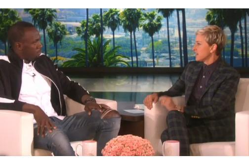 "<a class=""link rapid-noclick-resp"" href=""/olympics/rio-2016/a/1056797/"" data-ylk=""slk:Usain Bolt"">Usain Bolt</a> appears on 'Ellen' in 2015."