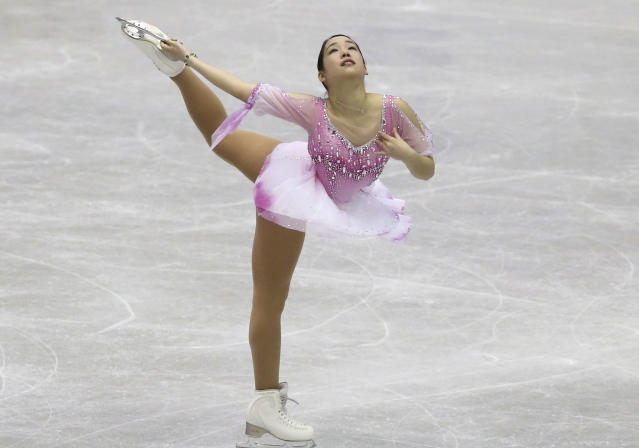 Japan's Mai Mihara performs during a Ladies short program of the NHK Trophy Figure Skating in Hiroshima, Western Japan, Friday, Nov. 9, 2018. (AP Photo/Koji Sasahara)