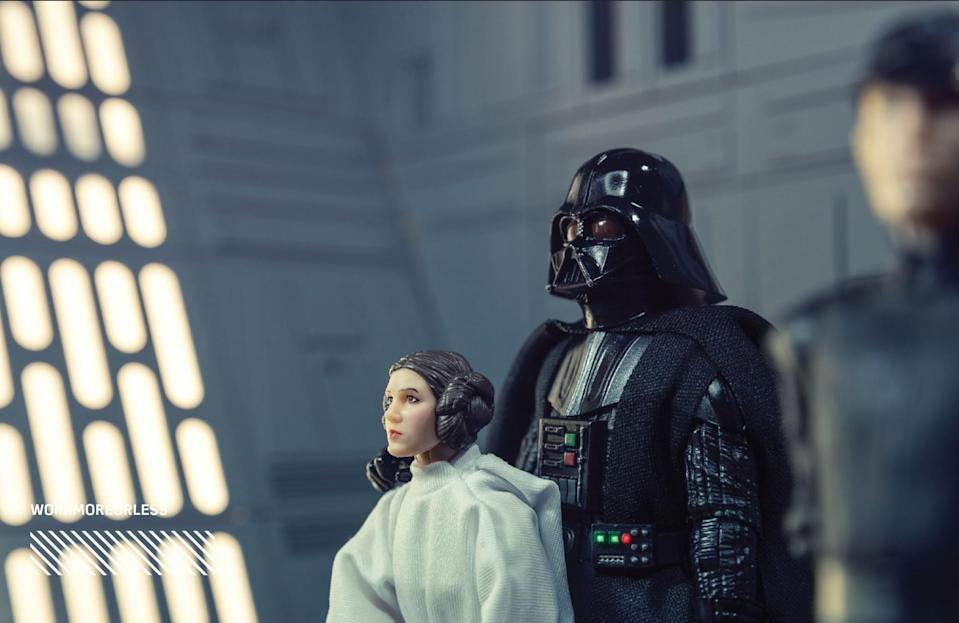 """<p>""""Since both Princess Leia and Darth Vader received completely new head sculpts, I wanted to highlight the incredible detail and character likeness of each. I chose to recreate the moment in the film when the destructive power of the Death Star was fully realized."""" (Photo: <a href=""""https://www.instagram.com/workmoreorless/"""" rel=""""nofollow noopener"""" target=""""_blank"""" data-ylk=""""slk:@workmoreorless"""" class=""""link rapid-noclick-resp"""">@workmoreorless</a>/Hasbro) </p>"""